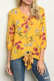 Shop The Trends  Yellow Floral Top - Front cropped