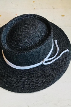ShopGoldies Black Straw Hat - Alternate List Image