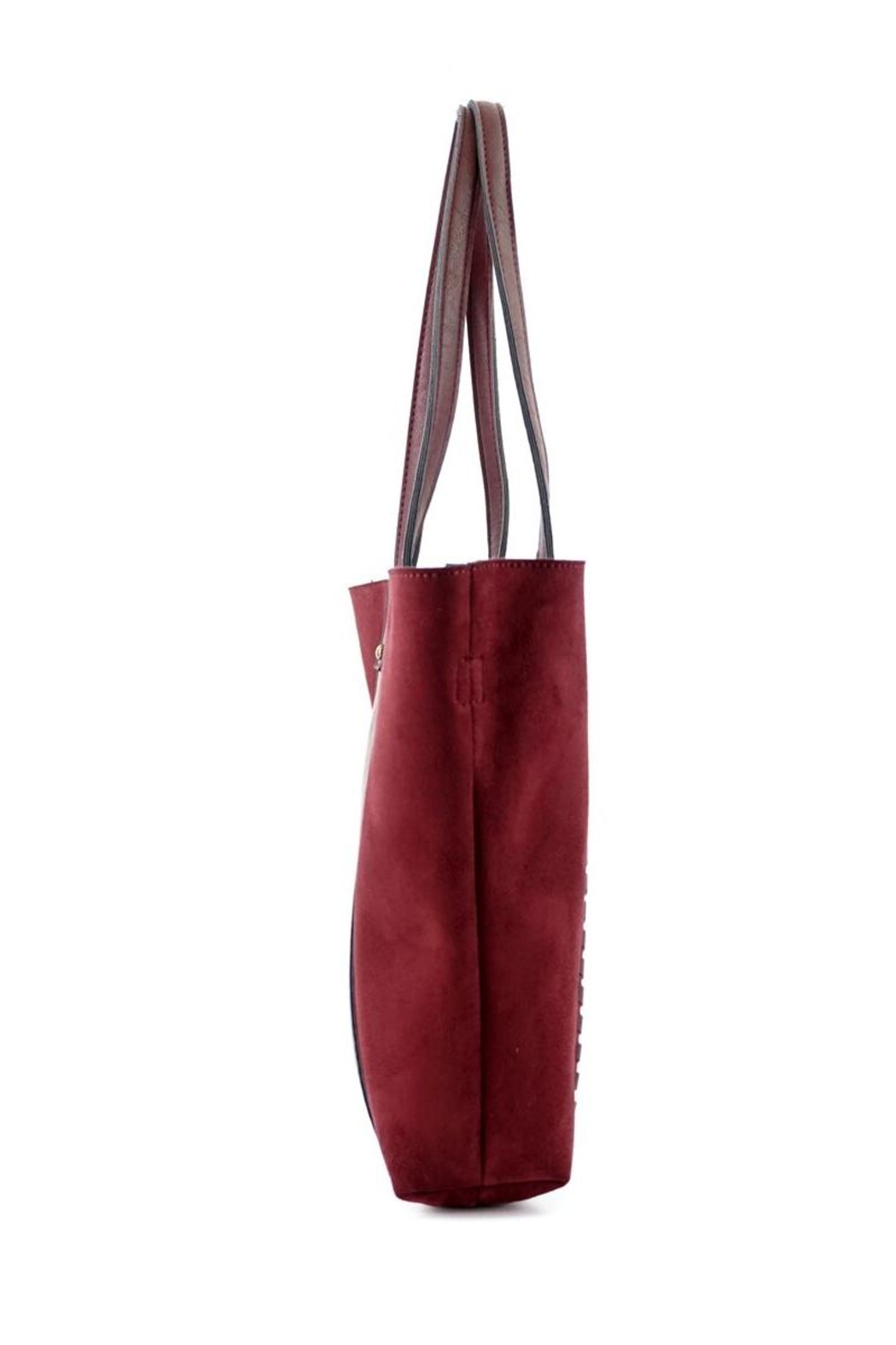 ShopGoldies Burgundy Vegan-Leather-Suede Stitched-Purse - Back Cropped Image
