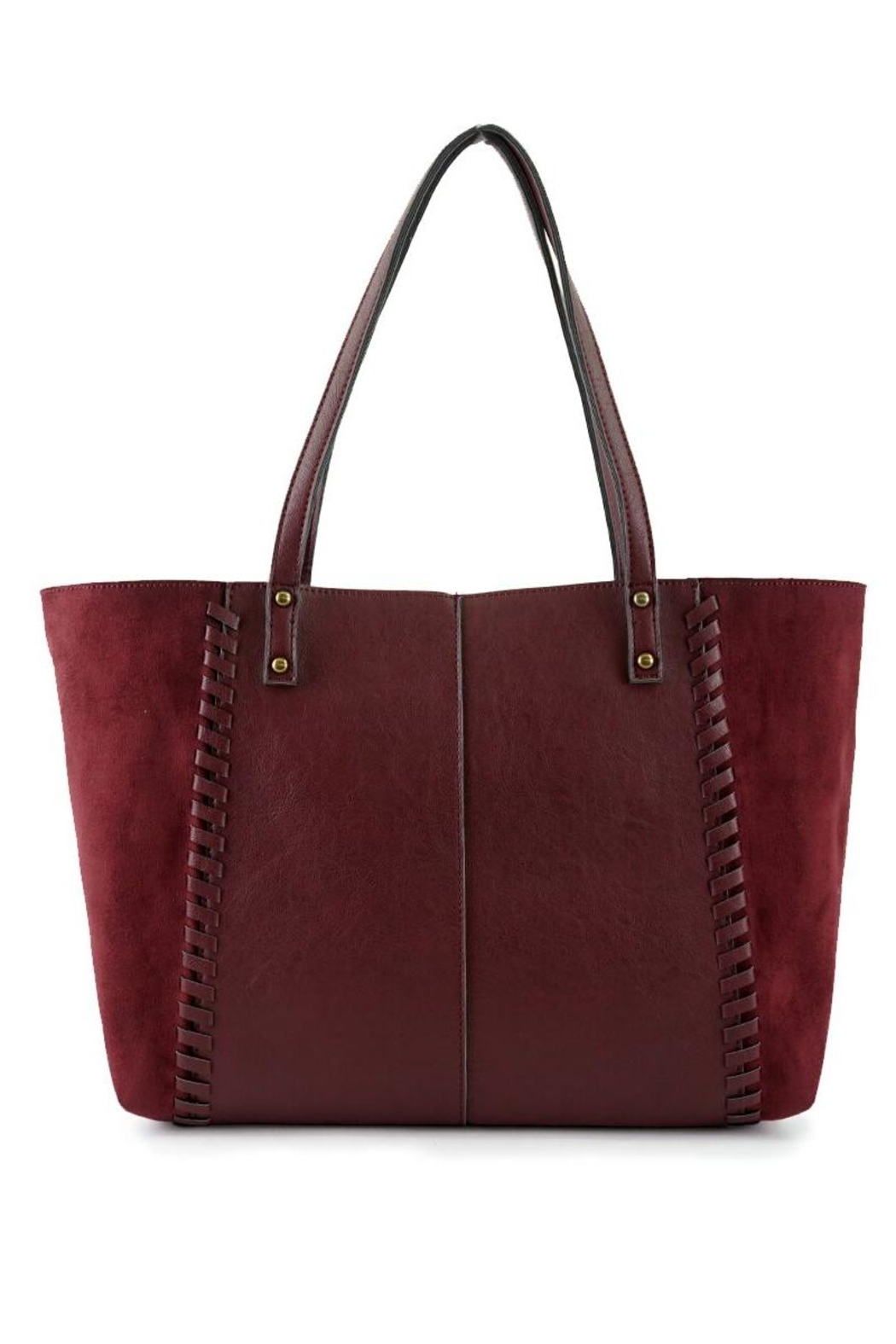 ShopGoldies Burgundy Vegan-Leather-Suede Stitched-Purse - Front Full Image