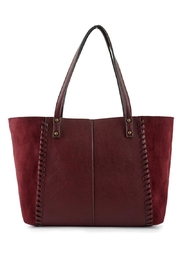 ShopGoldies Burgundy Vegan-Leather-Suede Stitched-Purse - Front full body
