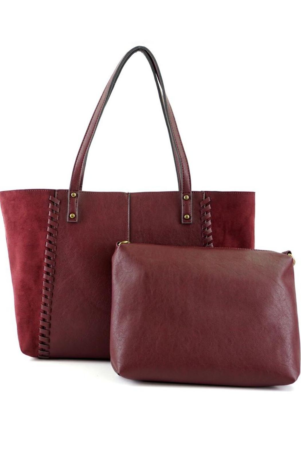 ShopGoldies Burgundy Vegan-Leather-Suede Stitched-Purse - Main Image