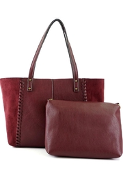 ShopGoldies Burgundy Vegan-Leather-Suede Stitched-Purse - Product Mini Image