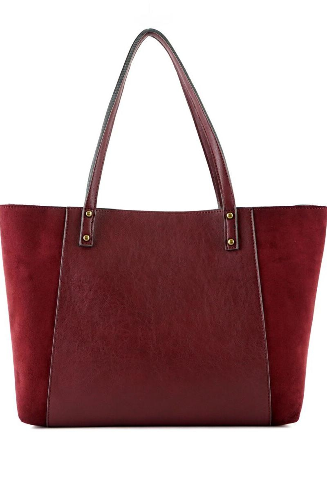 ShopGoldies Burgundy Vegan-Leather-Suede Stitched-Purse - Side Cropped Image