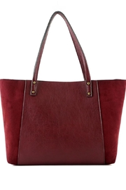 ShopGoldies Burgundy Vegan-Leather-Suede Stitched-Purse - Side cropped