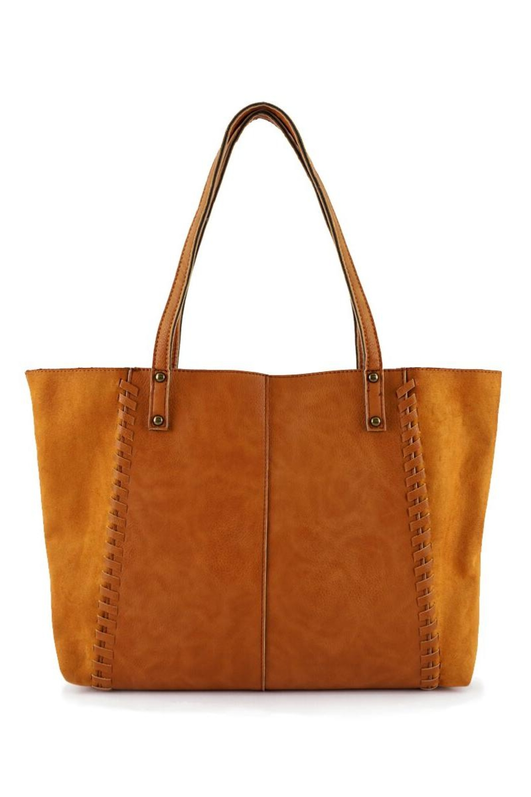 ShopGoldies Camel Vegan-Leather-Suede Stitched-Purse - Front Full Image