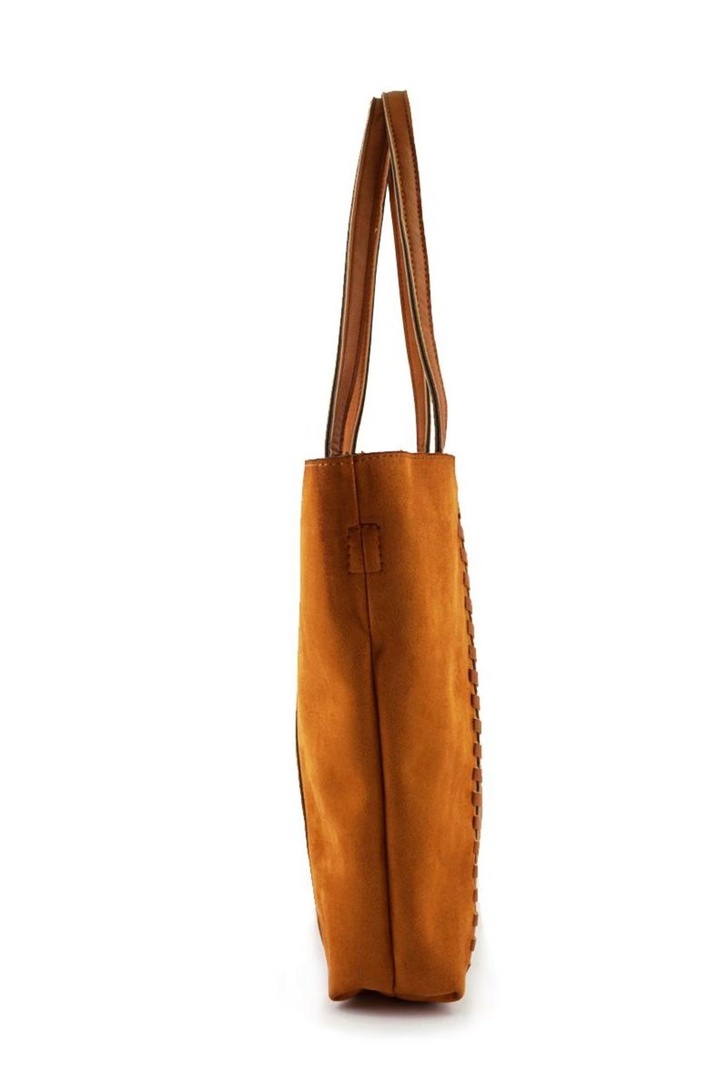 ShopGoldies Camel Vegan-Leather-Suede Stitched-Purse - Side Cropped Image