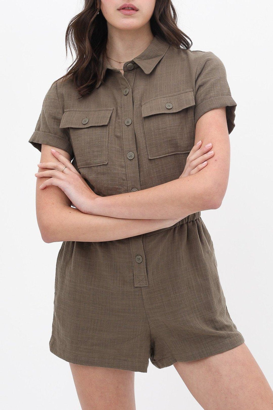 ShopGoldies Cotton Utility Romper - Front Cropped Image