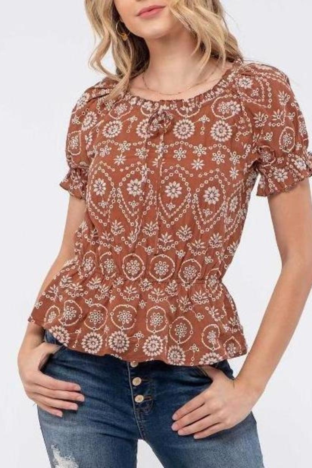 ShopGoldies Embroidery Detailing Blouse - Front Cropped Image