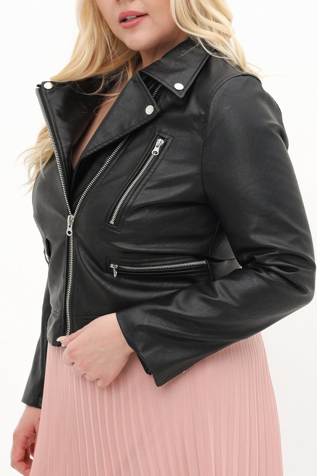 ShopGoldies Plus-Size Moto Jacket - Front Full Image