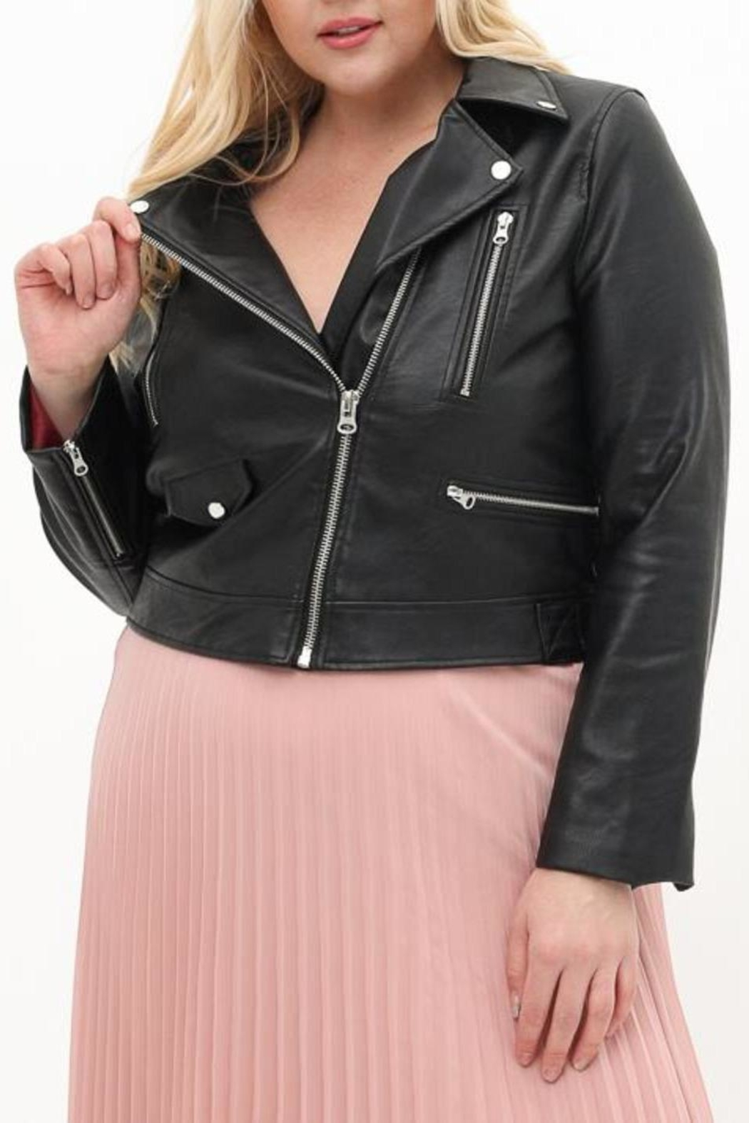ShopGoldies Plus-Size Moto Jacket - Front Cropped Image