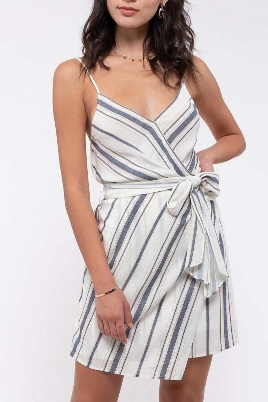 ShopGoldies Striped Tie-Waist Dress - Front Cropped Image