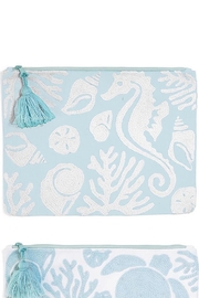 Two's Company Shore Embroidered Pouch - Front full body