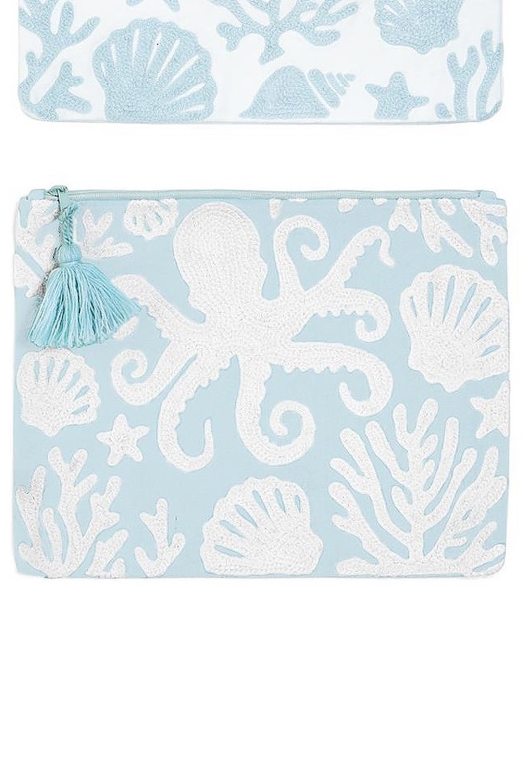 Two's Company Shore Embroidered Pouch - Front Cropped Image