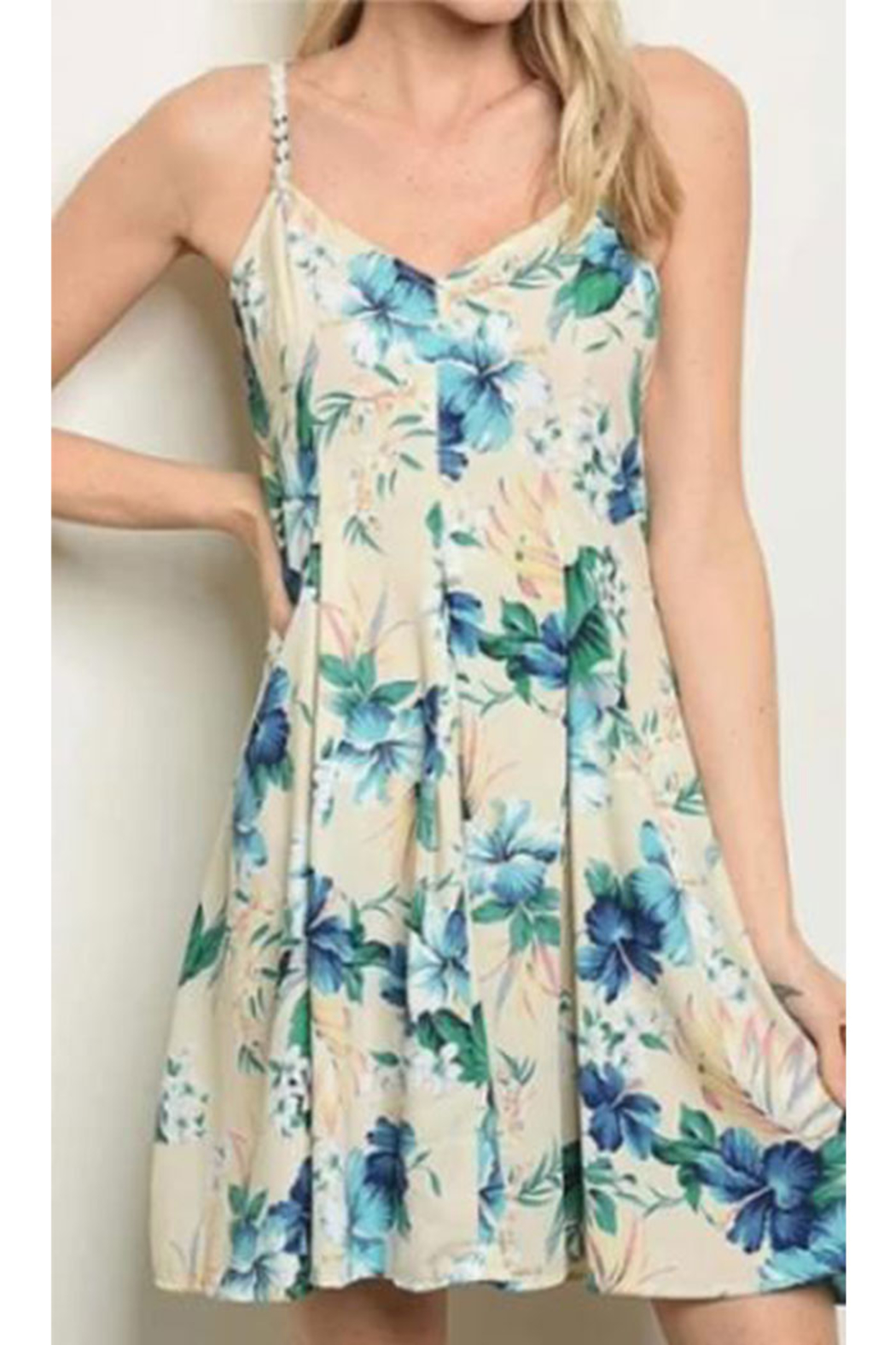 KIMBALS Short Floral Print Dress - Front Cropped Image