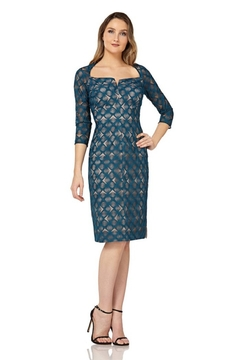 Kay Unger Short Print Dress with sleeves - Product List Image