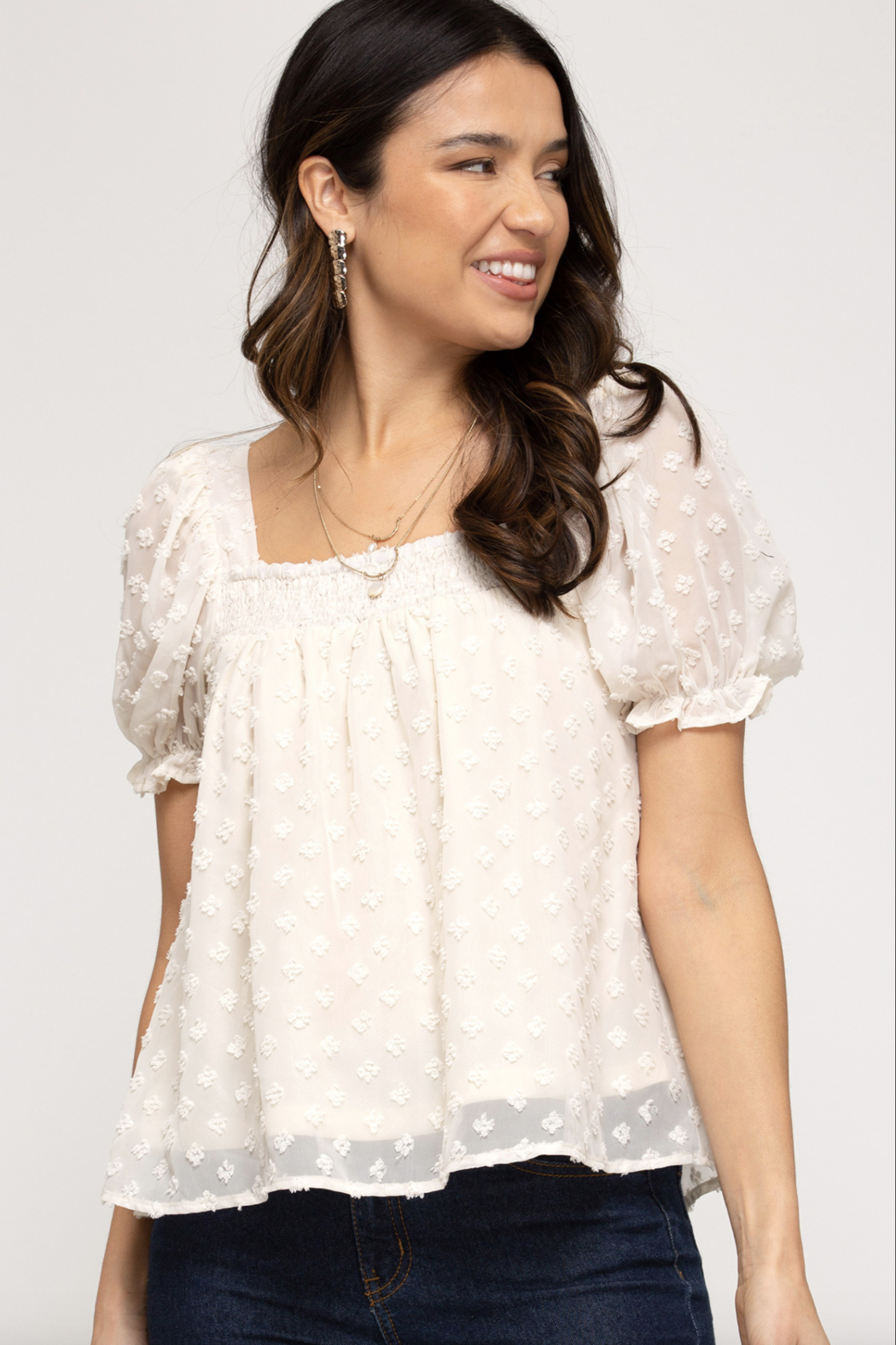 She and Sky Short Puff Sleeve Smocked Square Neck Dot Woven Top - Main Image