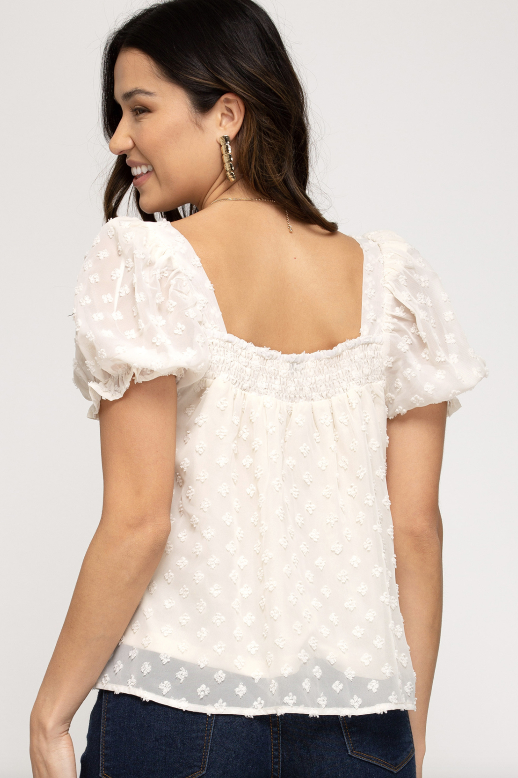 She and Sky Short Puff Sleeve Smocked Square Neck Dot Woven Top - Front Full Image