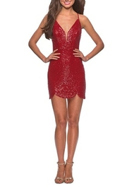 La Femme Short Scalloped Sequined Homecoming Dress - Front cropped