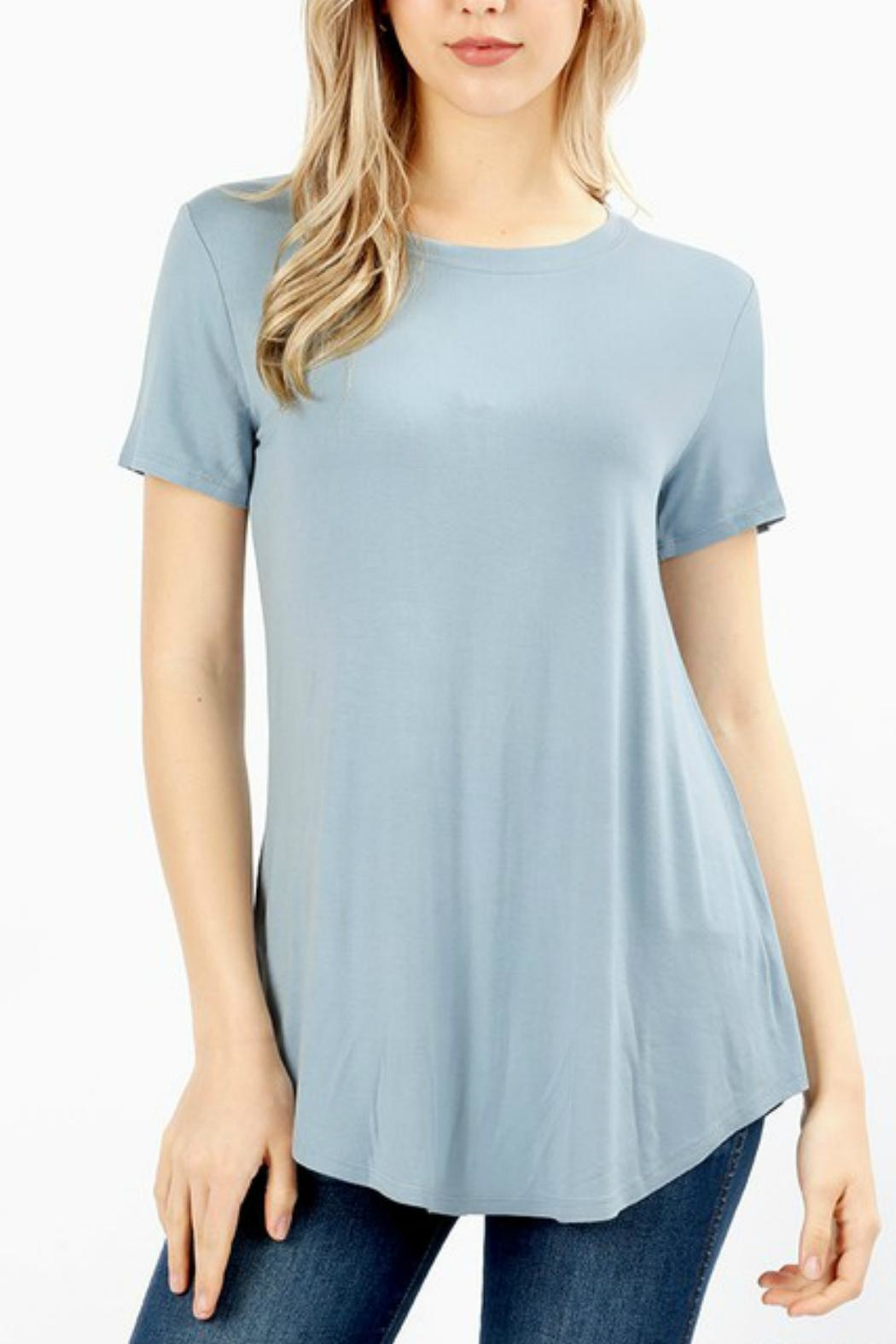 Zenana Outfitters Short-Sleeve Basic Tee - Front Cropped Image