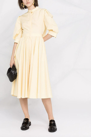 Alexander McQueen SHORT SLEEVE COTTON BOW TIE MIDI DRESS - Product Mini Image