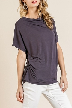 Umgee  Short Sleeve Cowl Neck Top with Gathered Side Details and Scoop Hem - Product List Image