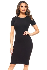YELETE GROUP Short Sleeve Crew Neck Midi Bodycon Dress - Product Mini Image