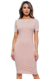 Yelete Short Sleeve Crew Neck Midi Bodycon Dress - Product Mini Image