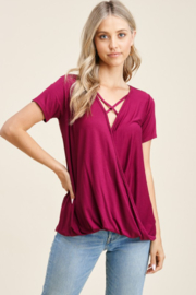 Staccato Short Sleeve Criss Cross Neck Top - Product Mini Image