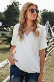 Shewin  Short Sleeve Drape Knit Top - Product Mini Image
