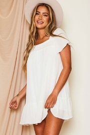 Peach Love California Short Sleeve Dress - Front cropped