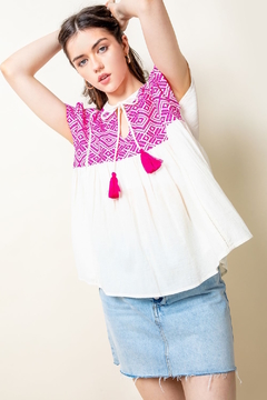 Shoptiques Product: Short Sleeve Embroidered Boho Top