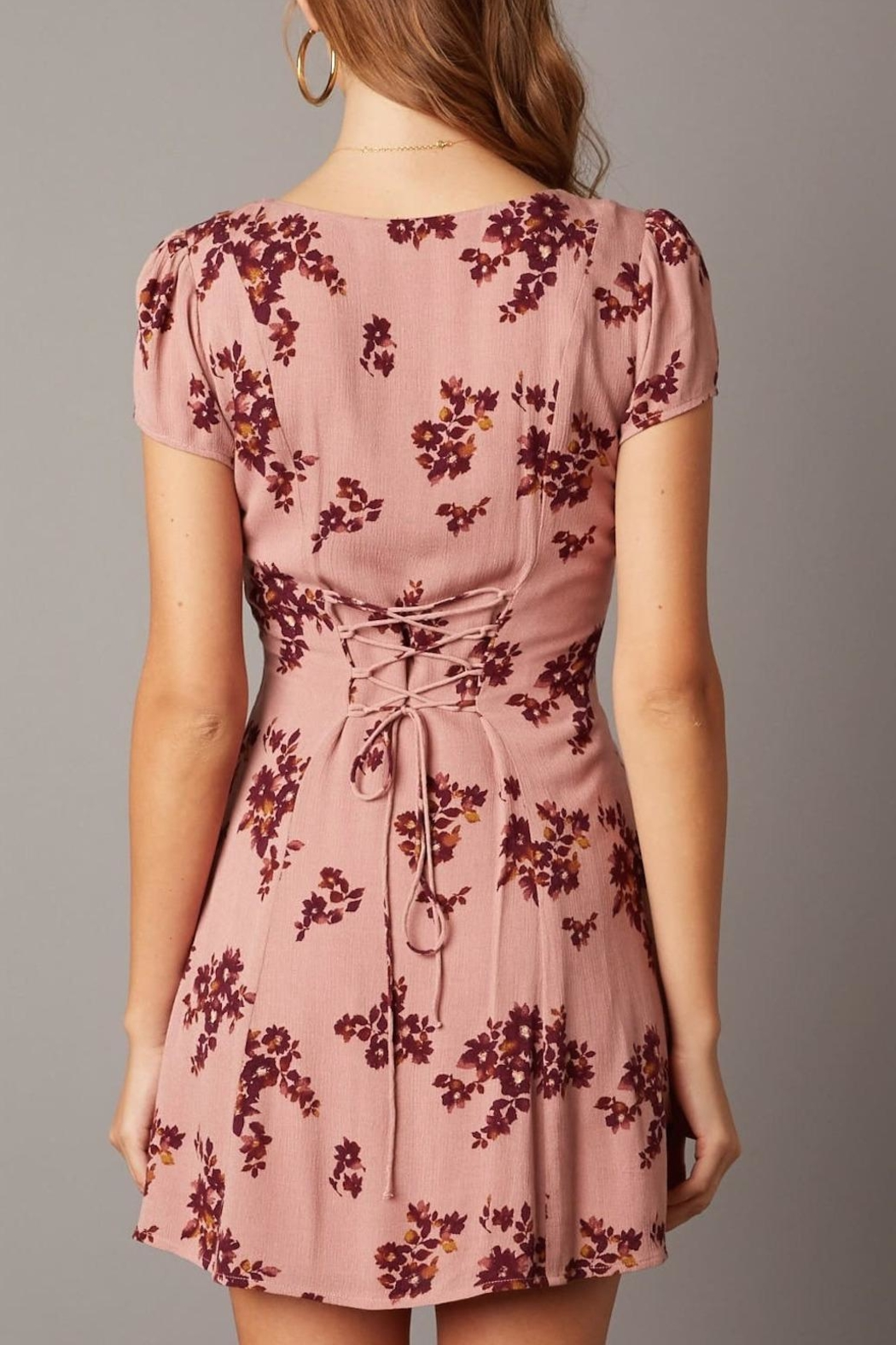 Cotton Candy Short-Sleeve Floral Dress - Side Cropped Image