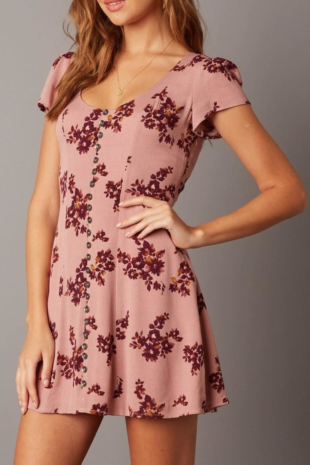 Cotton Candy Short-Sleeve Floral Dress - Main Image