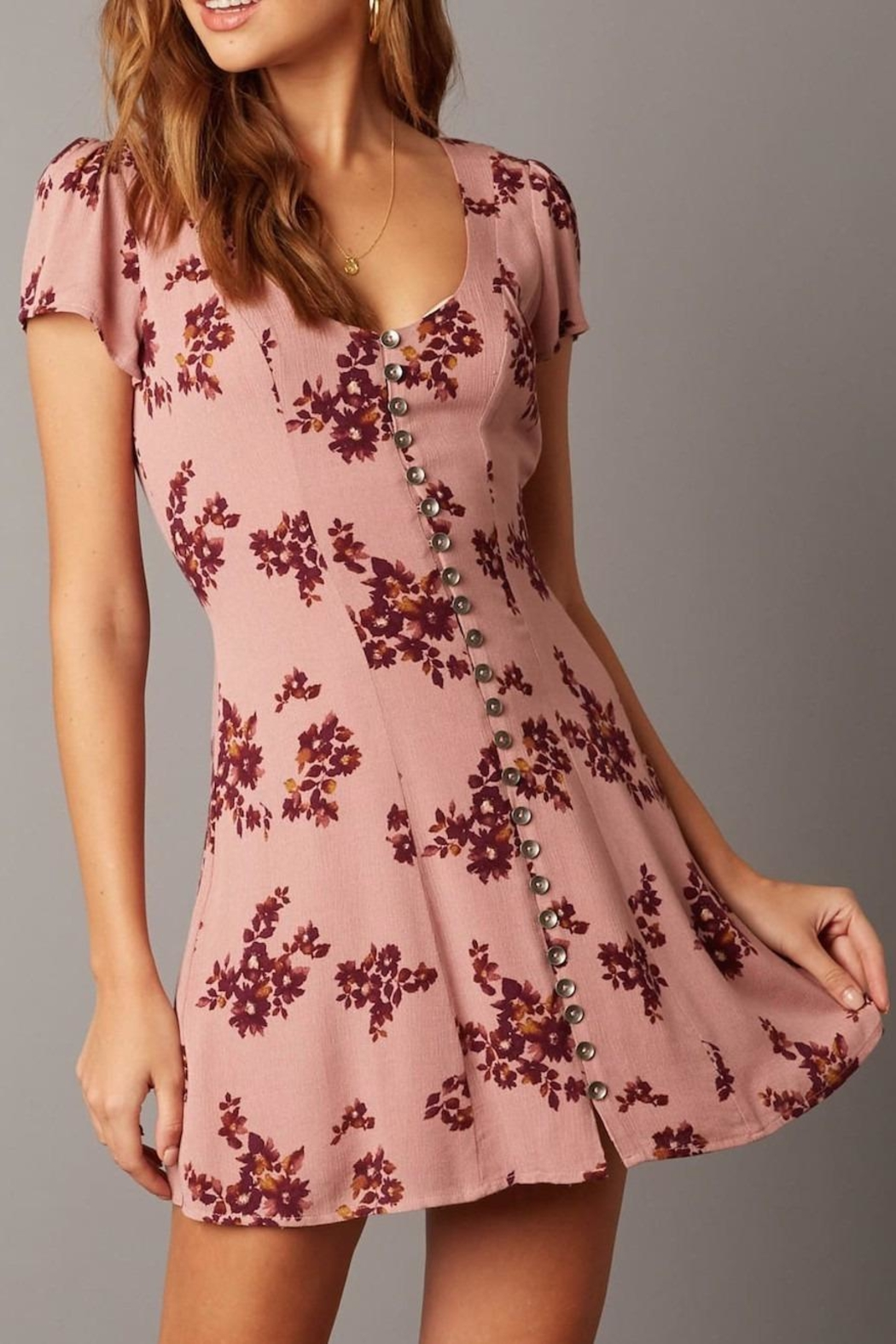 Cotton Candy Short-Sleeve Floral Dress - Front Full Image