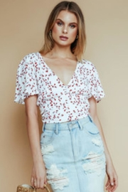 Olivaceous Short-Sleeve Floral Top - Product Mini Image