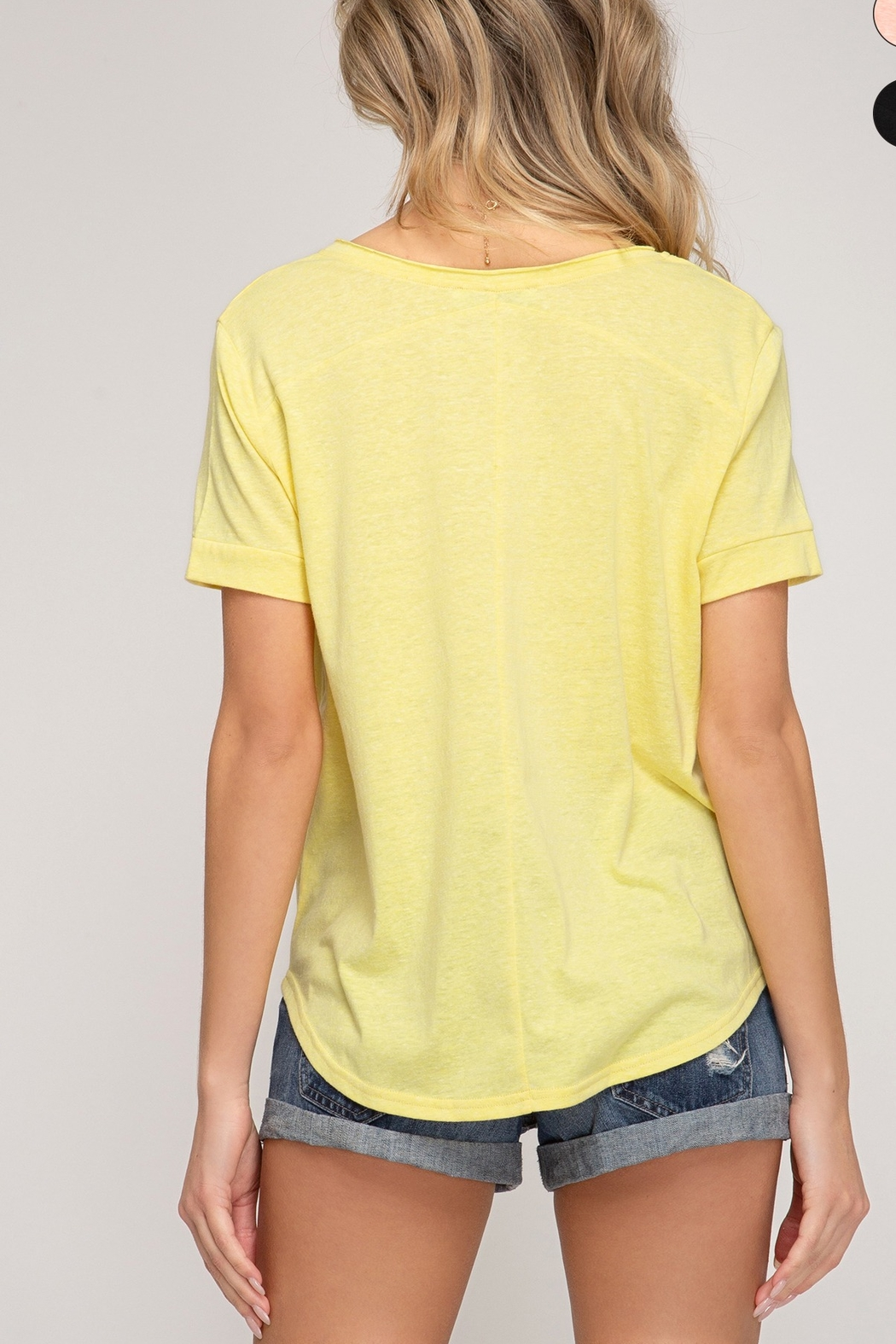 She and Sky Short Sleeve Front Tie Top - Side Cropped Image