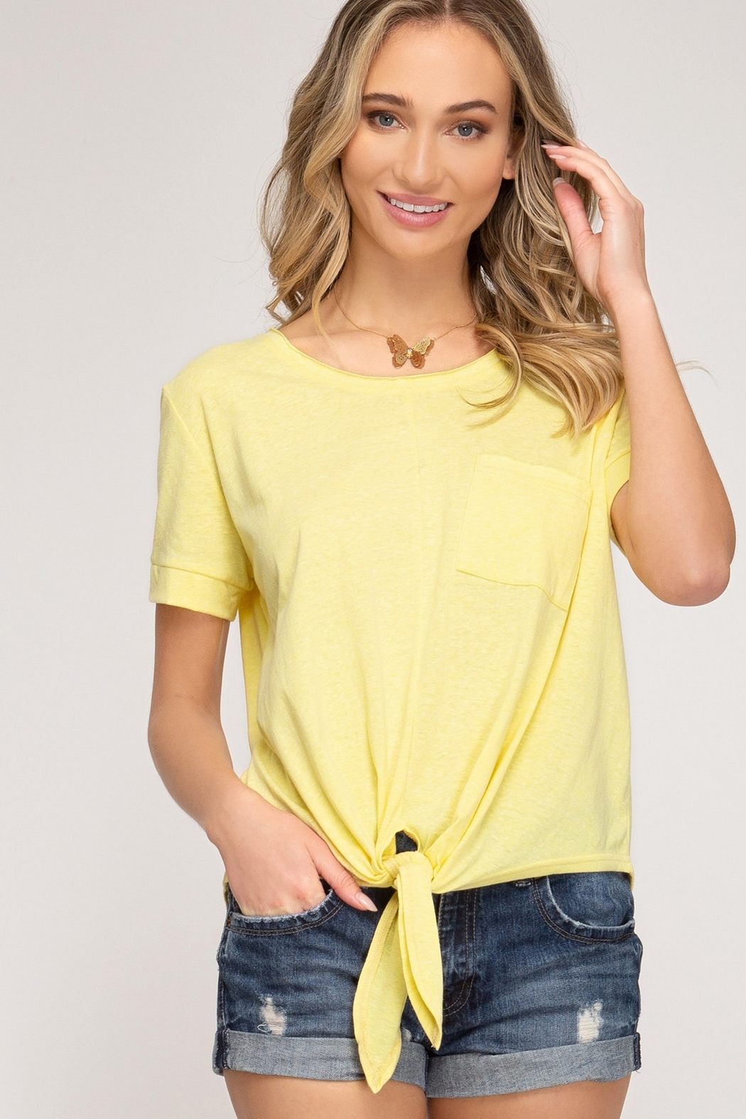 She and Sky Short Sleeve Front Tie Top - Main Image