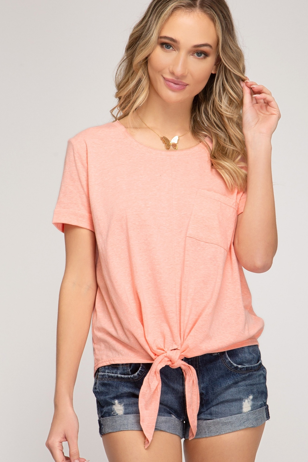 She and Sky Short Sleeve Front Tie Top - Front Cropped Image