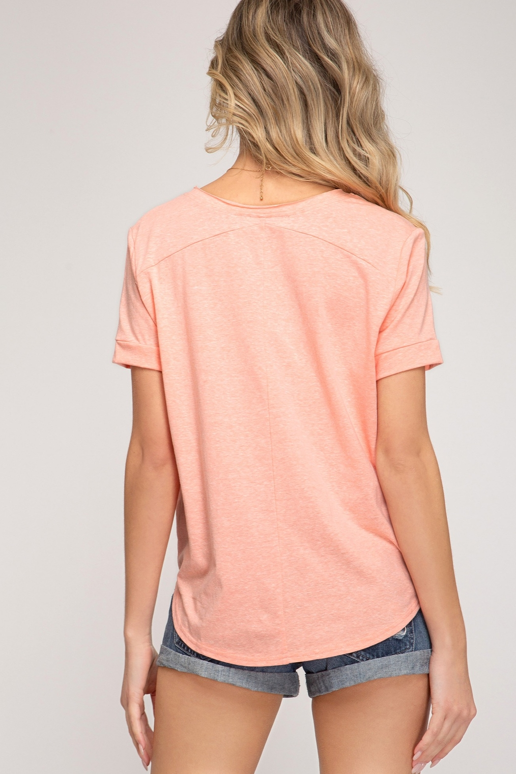 She and Sky Short Sleeve Front Tie Top - Front Full Image