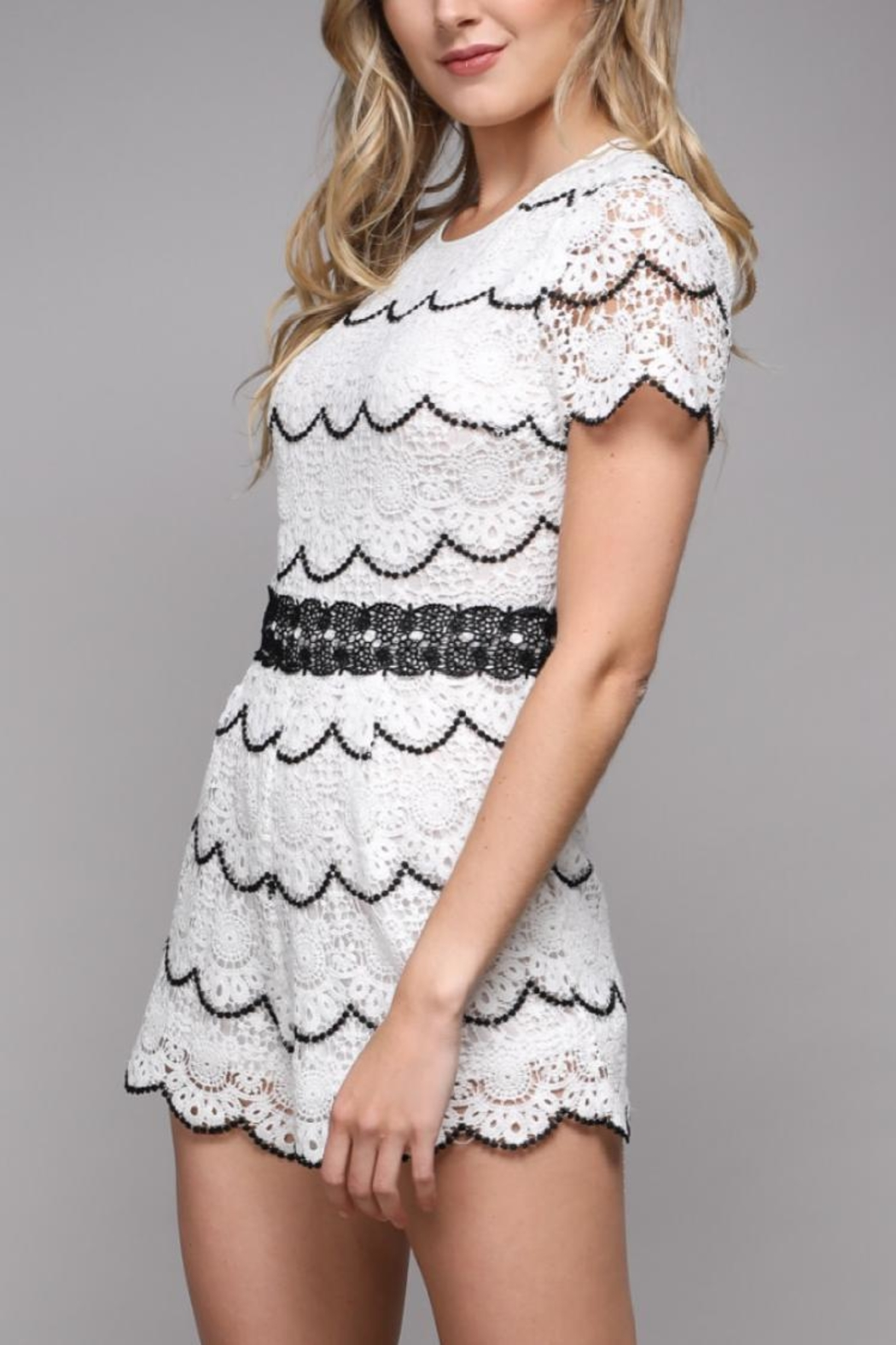Do & Be Short-Sleeve Lace Romper - Front Full Image