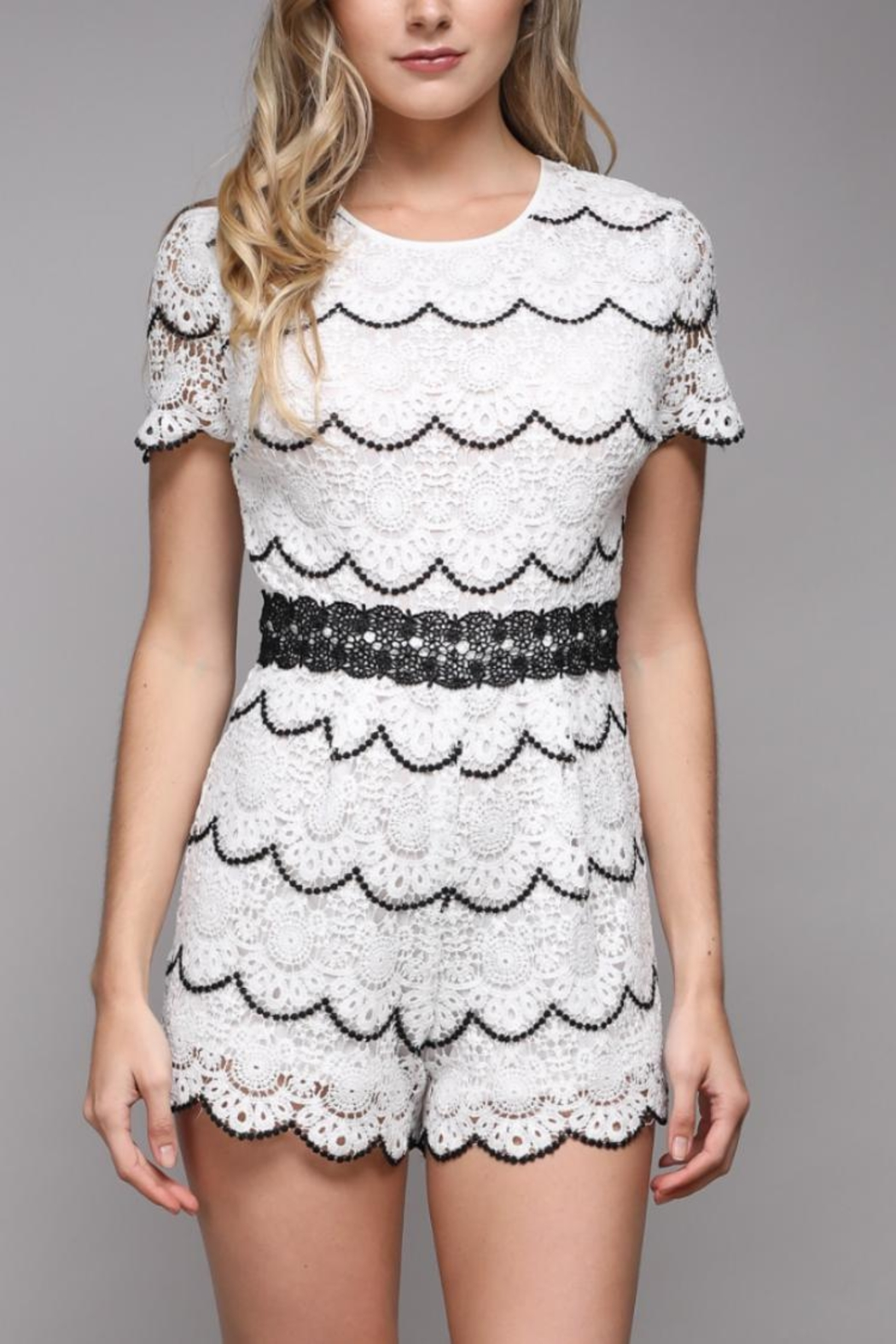 Do & Be Short-Sleeve Lace Romper - Main Image
