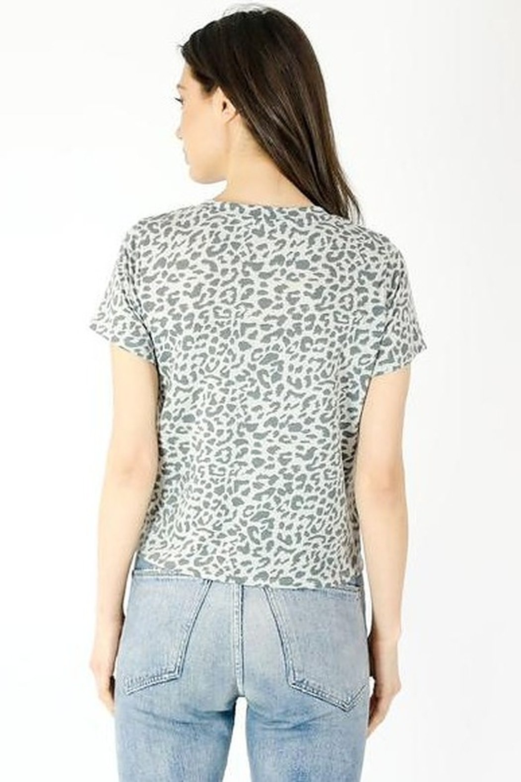Six Fifty Short Sleeve Leopard Front Tie Top - Side Cropped Image