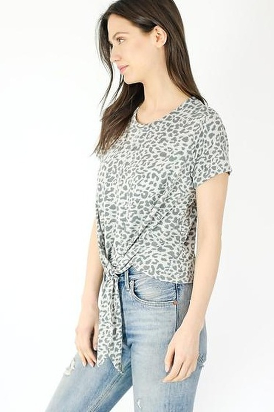 Six Fifty Short Sleeve Leopard Front Tie Top - Front Full Image