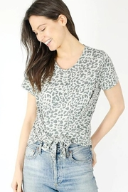 Six Fifty Short Sleeve Leopard Front Tie Top - Front cropped