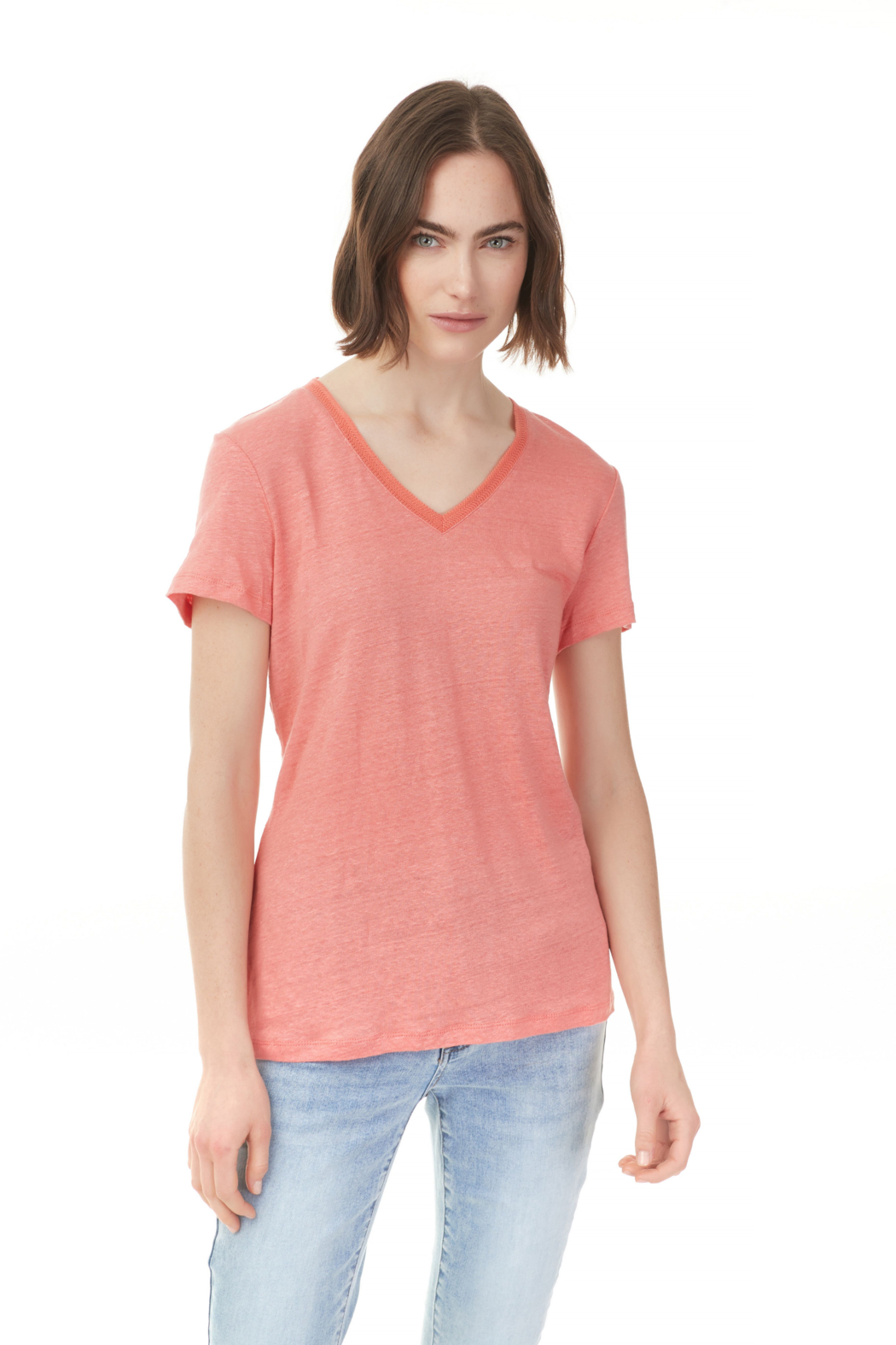 Charlie B Short Sleeve Linen Top - Front Cropped Image