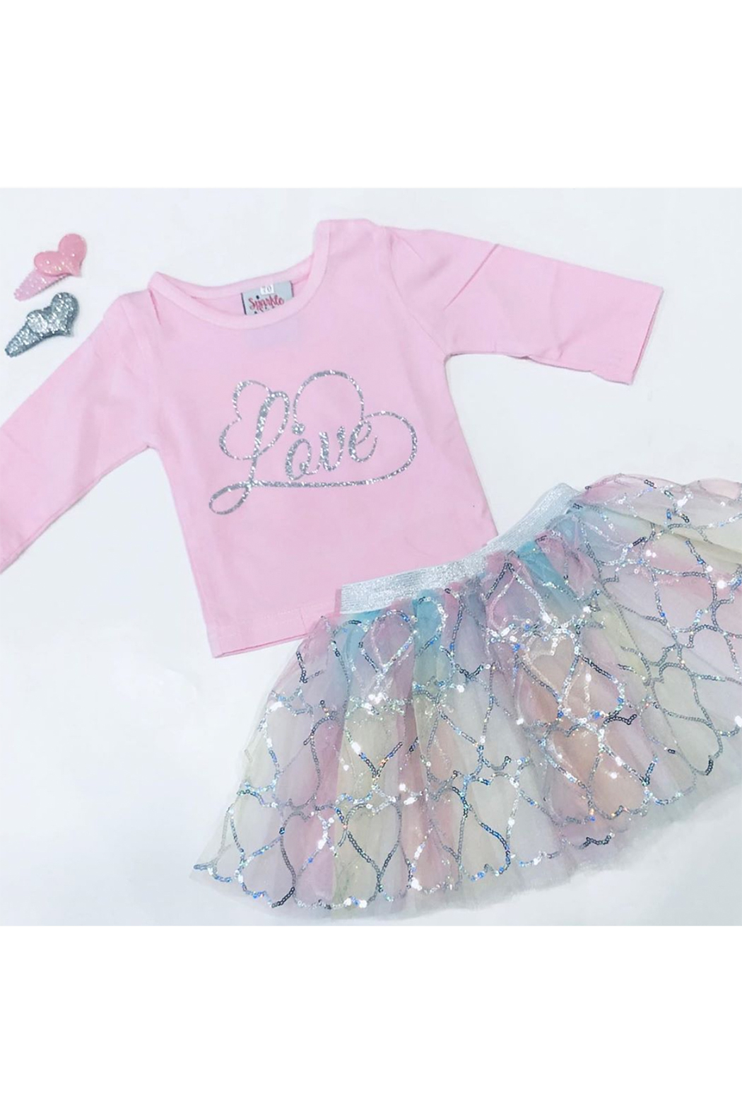 Sparkle Sisters Short Sleeve Love Shirt - Front Cropped Image