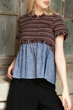 Cousin Earl Short Sleeve Mixed Fabric Top - Alternate List Image