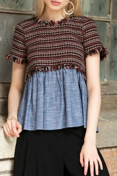 Cousin Earl Short Sleeve Mixed Fabric Top - Product List Image
