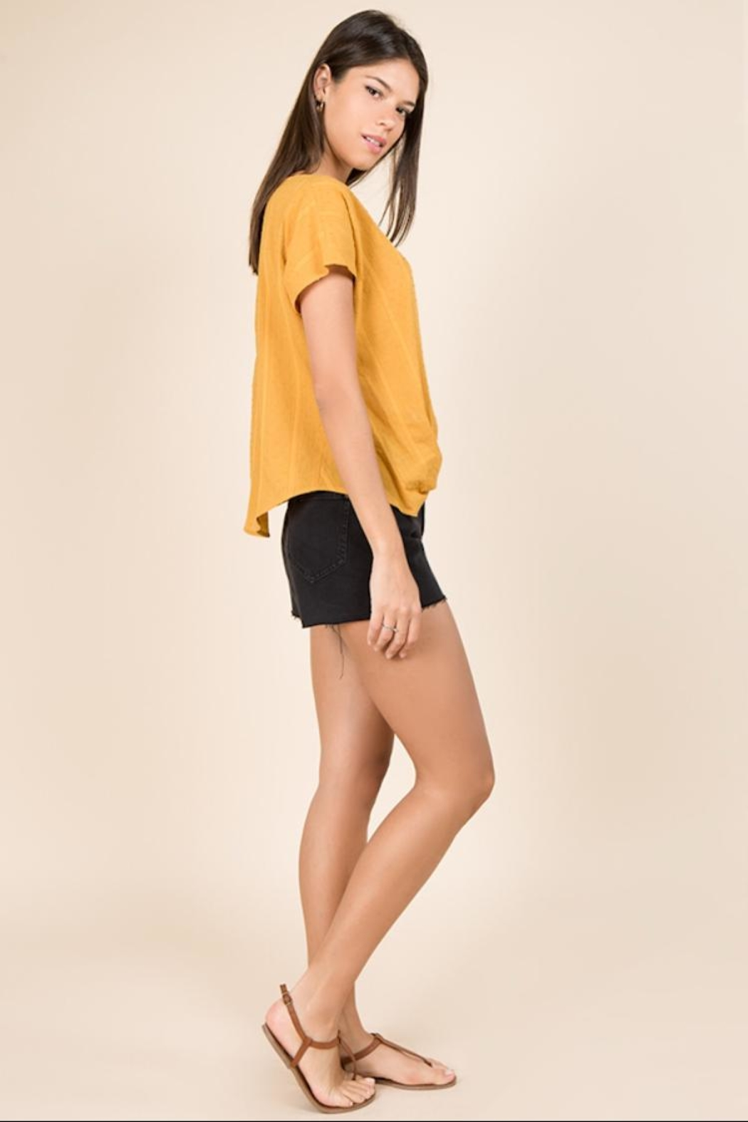 Miss Love Short-Sleeve Mustard Top - Side Cropped Image